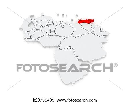 Stock Illustration of Map of Sucre Venezuela k20755495 Search