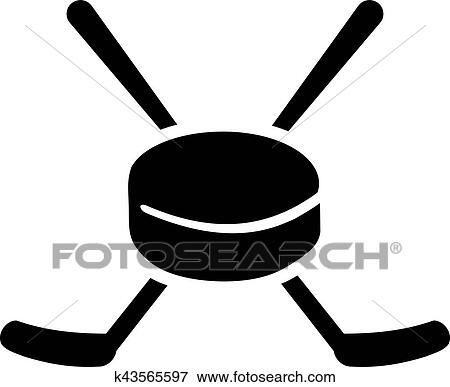 clip art of hockey puk and sticks k43565597 search clipart rh fotosearch com hockey stick puck clipart hockey puck clipart vector