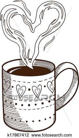 clipart coffee cup with heart shaped steam fotosearch search clip art