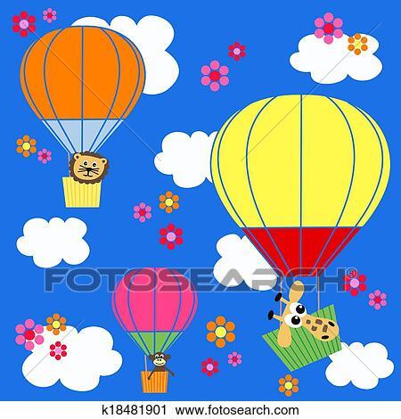 剪贴画 动物, balloon, 天空, 背景