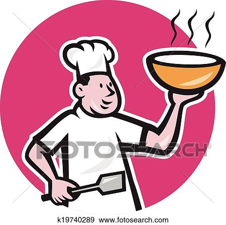 clip art of fat chef cook holding bowl oval cartoon k19740289 rh fotosearch com fast clip art fat clipart images