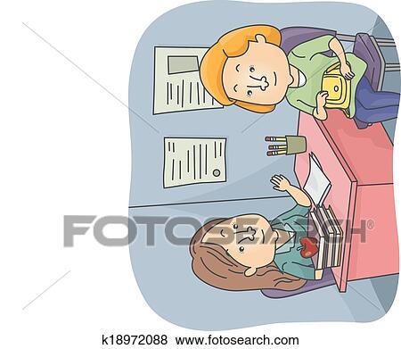 Clip Art of Parent Teacher Talk k18972088 - Search Clipart ...
