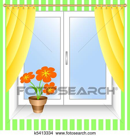 Clipart Of Flower At A Window K5413334 Search Clip Art