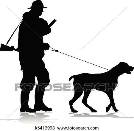 Clipart - Hunter and dog silhouette. Fotosearch - Search Clip Art ...