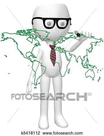 Drawing A World Map. Clip Art  Smart global person marker drawing world map Fotosearch Search Clipart of k5418112