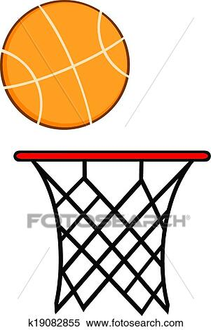 clipart of abstract basketball hoop with ball k19082855 search rh fotosearch com basket hoop clipart basket hoop clipart