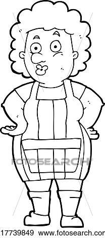 Clipart dessin anim femme dans tablier cuisine - Dessin anime de cuisine ...
