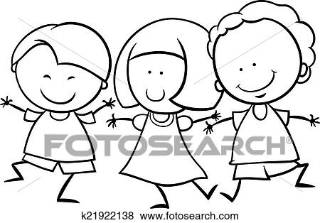 Black And White Cartoon Illustration Of Cute Happy Multicultural Children Boys Girl Characters For Coloring Book