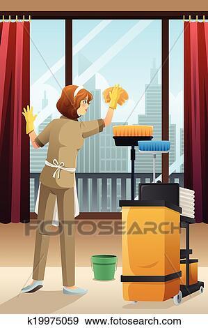 Clipart h tel concierge nettoyage les chambre h tel k19975059 recherc - Nettoyage chambre hotel ...