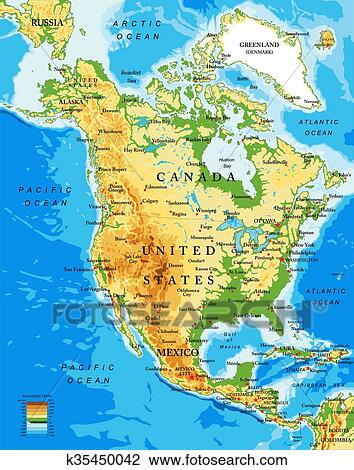 Clipart of Physical map of North America k35450042 Search Clip Art