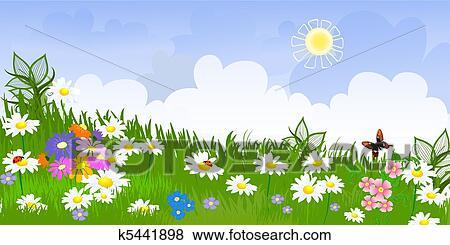 花, 草地, 全景 剪贴画