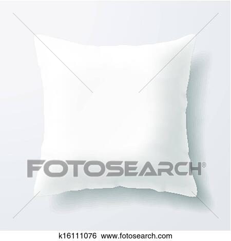 Clip Art of Blank white square pillow k16111076 - Search ...