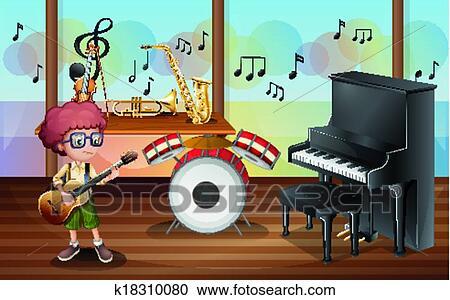 clipart a jeune guitariste int rieur les studio musique k18310080 recherchez des clip. Black Bedroom Furniture Sets. Home Design Ideas