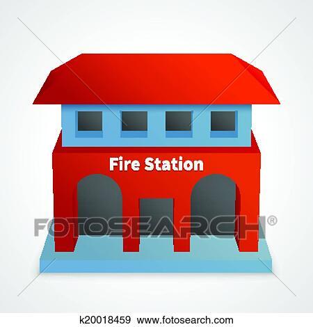 Clipart caserne pompiers b timent k20018459 - Dessin caserne pompier ...