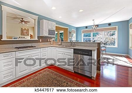 Beeld   keuken, witte, met, kers, vloer, en blauw, muren k5447617 ...