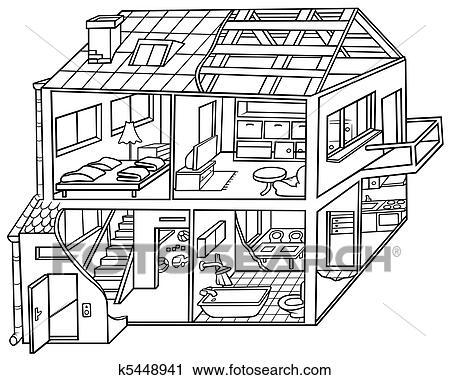 clipart wohnung haus k5448941 suche clip art illustration wandbilder zeichnungen und. Black Bedroom Furniture Sets. Home Design Ideas