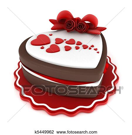 Clip Art of Valentine Cake k5449962 - Search Clipart ...