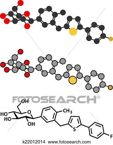 clipart of canagliflozin diabetes drug molecule sglt2 inhibitor rh fotosearch com Diabetes Cartoons diabetes images clipart