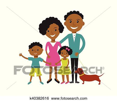 clip art of happy african american family k40382616 search clipart rh fotosearch com african american family clipart free african american family reunion clipart