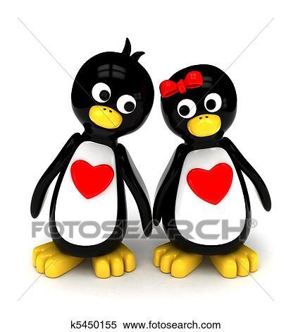 Cartoon penguins holding hands - photo#34