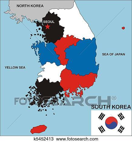 手绘图 - 南朝鲜, 地图