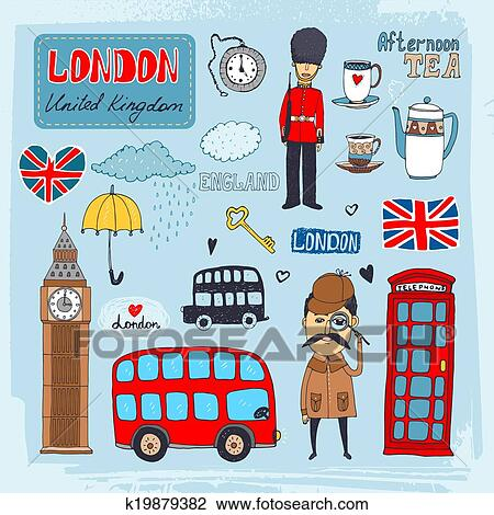 Clipart of London landmarks k19879382 - Search Clip Art ...
