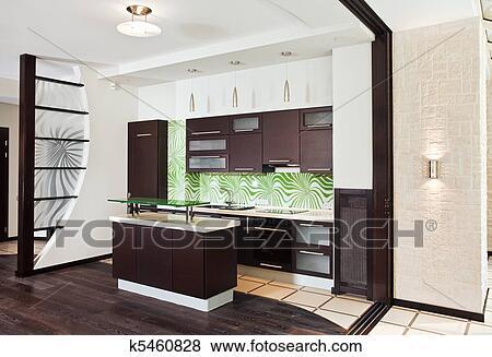 images moderne cuisine studio int rieur sombre plancher bois k5460828 recherchez. Black Bedroom Furniture Sets. Home Design Ideas