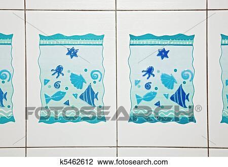 Stock Foto - blauwe, badkamer, keramiek, tegel, motieven. Fotosearch ...