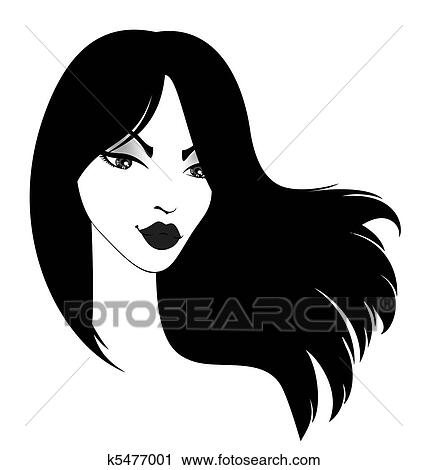 clipart of girl with long black hairs k5477001 search clip art rh fotosearch com clipart of girl face clipart of girl face
