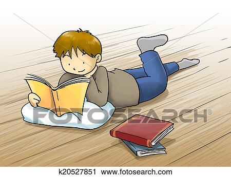 Kids Cartoons Reading Kid Reading a Book Cartoon