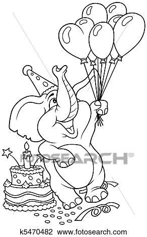 clipart elefant und alles gute geburtstag k5470482 suche clip art illustration wandbilder. Black Bedroom Furniture Sets. Home Design Ideas