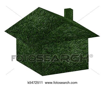 剪贴画 绿色的房子