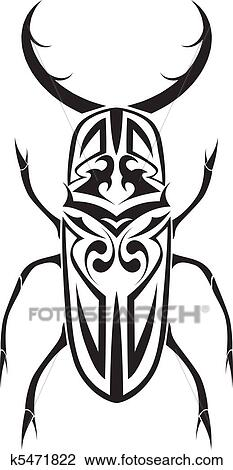 clipart of tribal stag beetle vector tattoo k5471822 search clip rh fotosearch com tribal clip art designs tribal clip art designs free