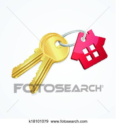 Clip Art of House keys with Red Key chain k18101079 - Search ...