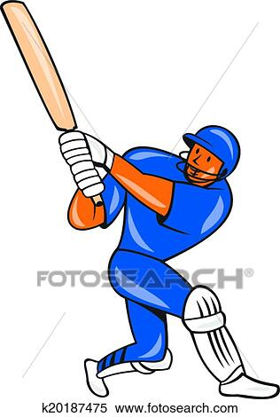 Clipart of India Cricket Player Batsman Batting Cartoon k20187475 ...