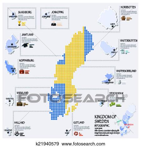 Clip Art Of Dot And Flag Map Of Sweden Infographic Design - Sweden map search