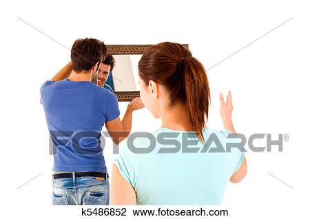 Arkivfoto   par, innrede, det, nytt hus k5486852   søk ...