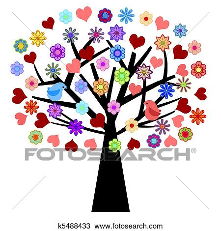 Drawing of Valentines Day Tree with Love Birds Hearts Flowers ...