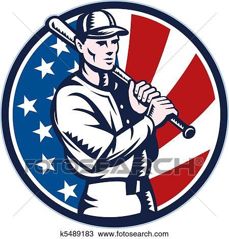 Drawing of Baseball player holding bat american k5489183 - Search ...