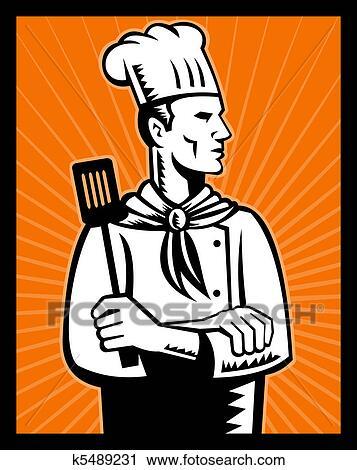 Clipart retro chef cuistot cuisinier tenue spatule for Cuisinier bras