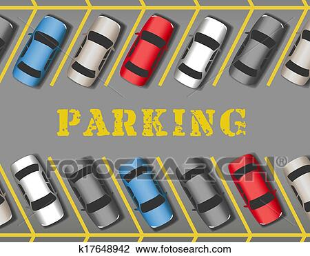 clipart of cars park in store parking lot rows k17648942 search rh fotosearch com parking lot clipart parking lot safety clipart
