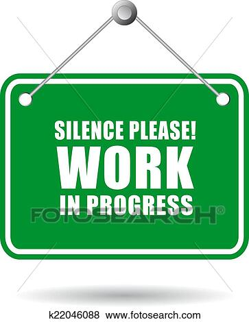 clip art of silence work in progress k22046088 search. Black Bedroom Furniture Sets. Home Design Ideas