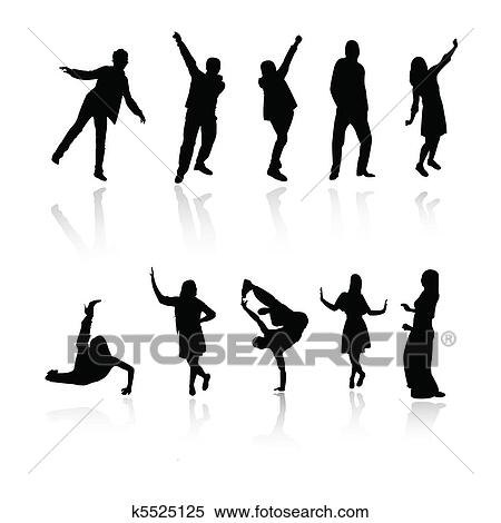 Clipart of silhouette people jumping dance k5525125 - Search Clip ...