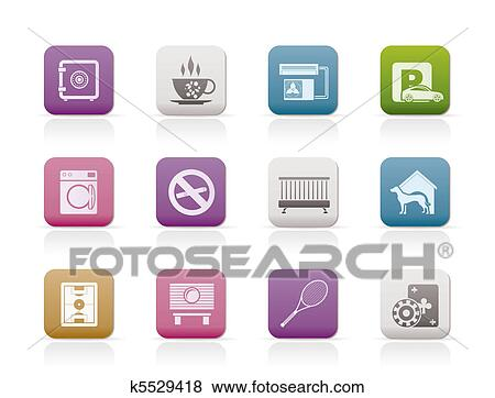 Clip Art of hotel and motel amenity icons k5529418 - Search ...
