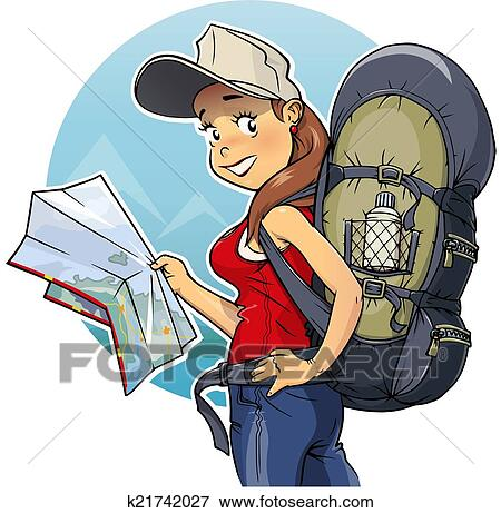 clip art of tourist girl with rucksack and map k21742027 search rh fotosearch com tourist clipart png clipart tourist guide