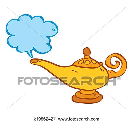 Schreibtischlampe clipart  Clip Art of Isolated cartoon Aladin lamp with cloud. Vector ...