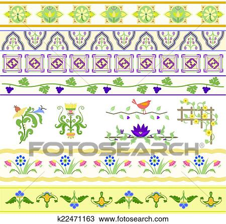 Clipart of Floral Dividers, Borders, and Trim k22471163 - Search ...