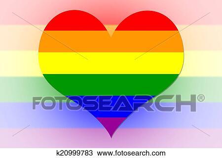 手绘图 - 彩虹, 旗, 心