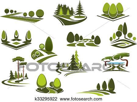 剪贴画 - 森林, 公众公园, 同时,, 花园, 风景, 图标.