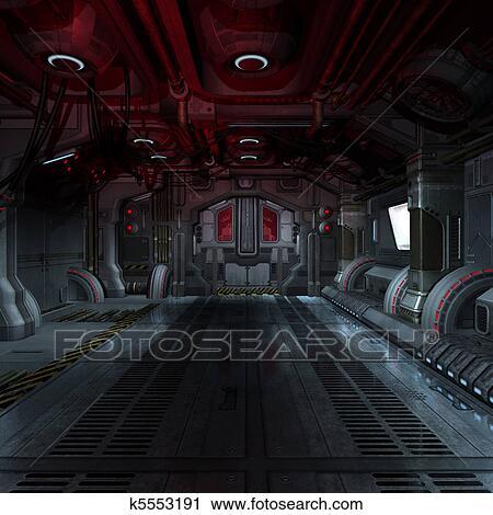 Clipart int rieur a futuriste scifi vaisseau spatial for Interieur vaisseau spatial